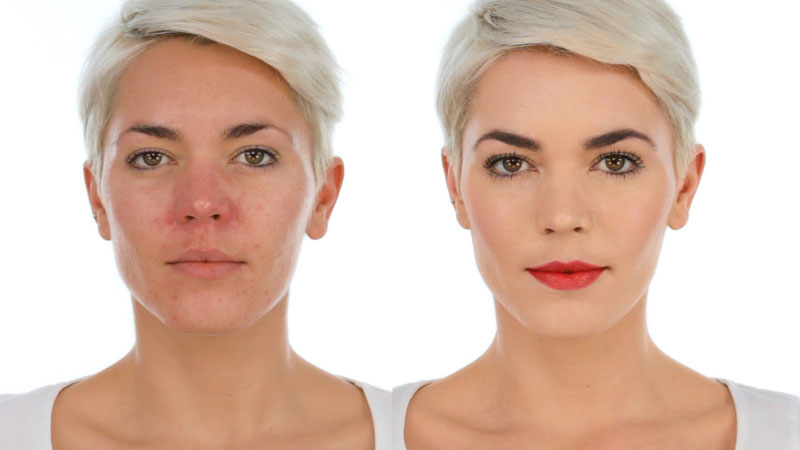 Лицо до и после применения профессиональной косметики