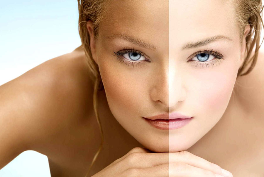 Разница между загорелым лицом и белым